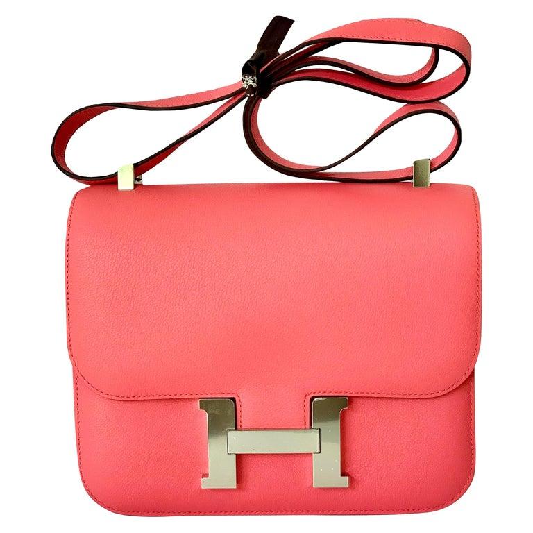 Hermes Constance 24cm Rose Azalee Pink Palladium