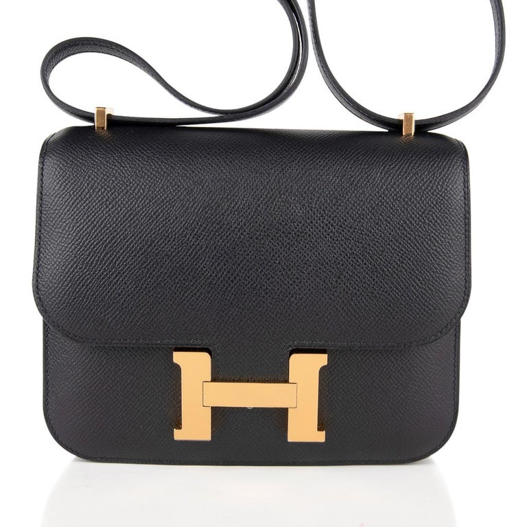 Hermes Constance Bag 18 Black Epsom Gold Hardware New w/ Box In New Condition For Sale In Miami, FL