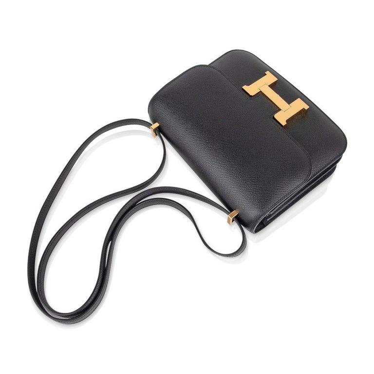 Hermes Constance Bag 18 Black Epsom Gold Hardware New w/ Box For Sale 1