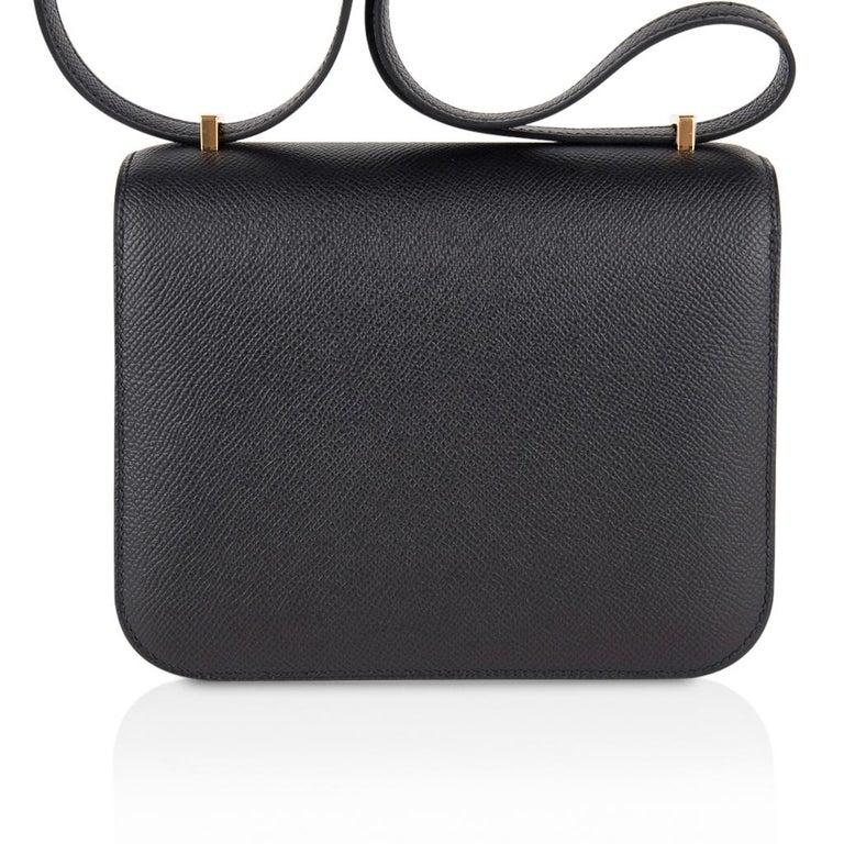 Hermes Constance Bag 18 Black Epsom Gold Hardware New w/ Box For Sale 2