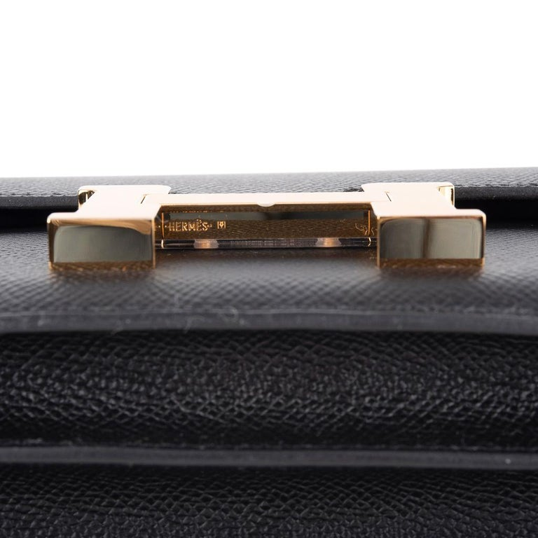 Hermes Constance Bag 18 Black Epsom Gold Hardware New w/ Box For Sale 3