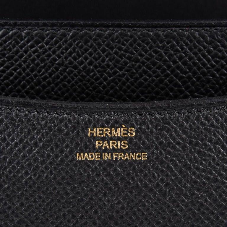 Hermes Constance Bag 18 Black Epsom Gold Hardware New w/ Box For Sale 4