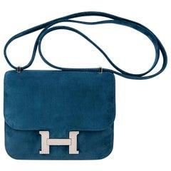 Hermes Constance Bag 18 Blue Ocean Doblis Palladium Limited Edition