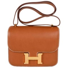 Hermes Constance Bag 18 Fauve Barenia Leather Gold Hardware