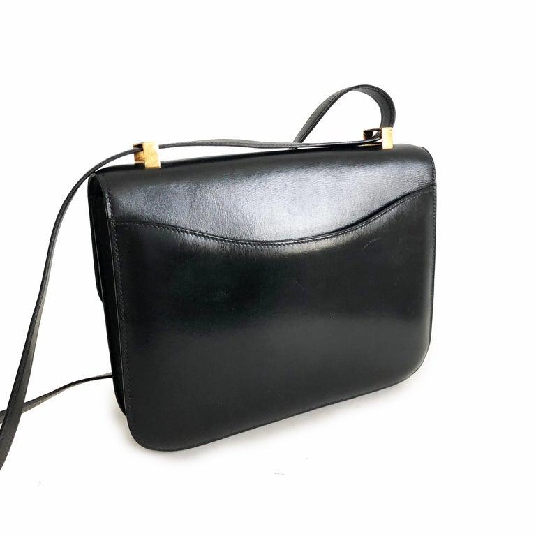 Hermes Constance Bag 23cm Black Box Leather Vintage 80s  For Sale 6