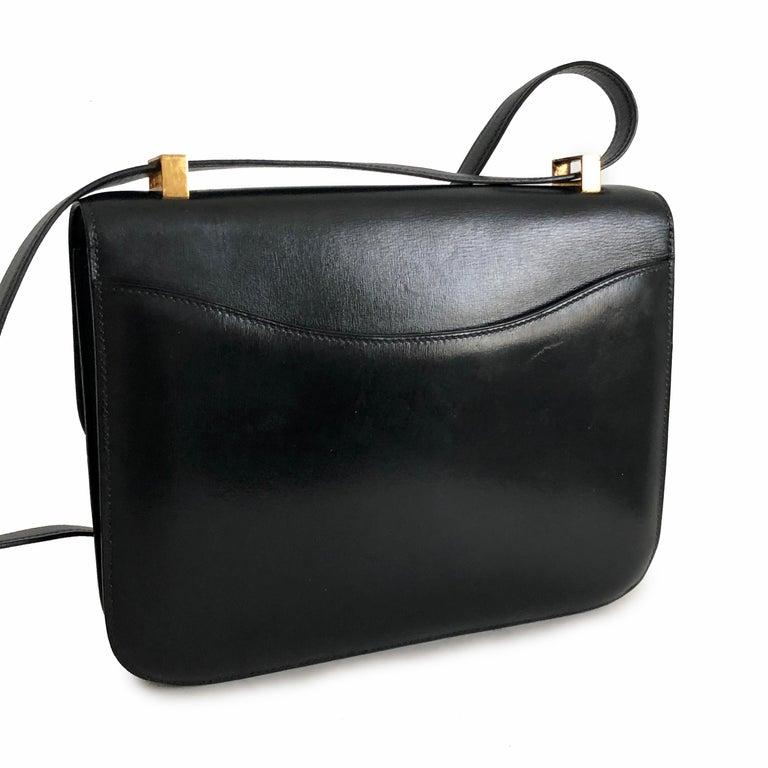 Hermes Constance Bag 23cm Black Box Leather Vintage 80s  For Sale 7