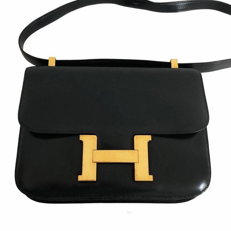 Hermes Constance Bag 23cm Black Box Leather Vintage 80s  For Sale 8