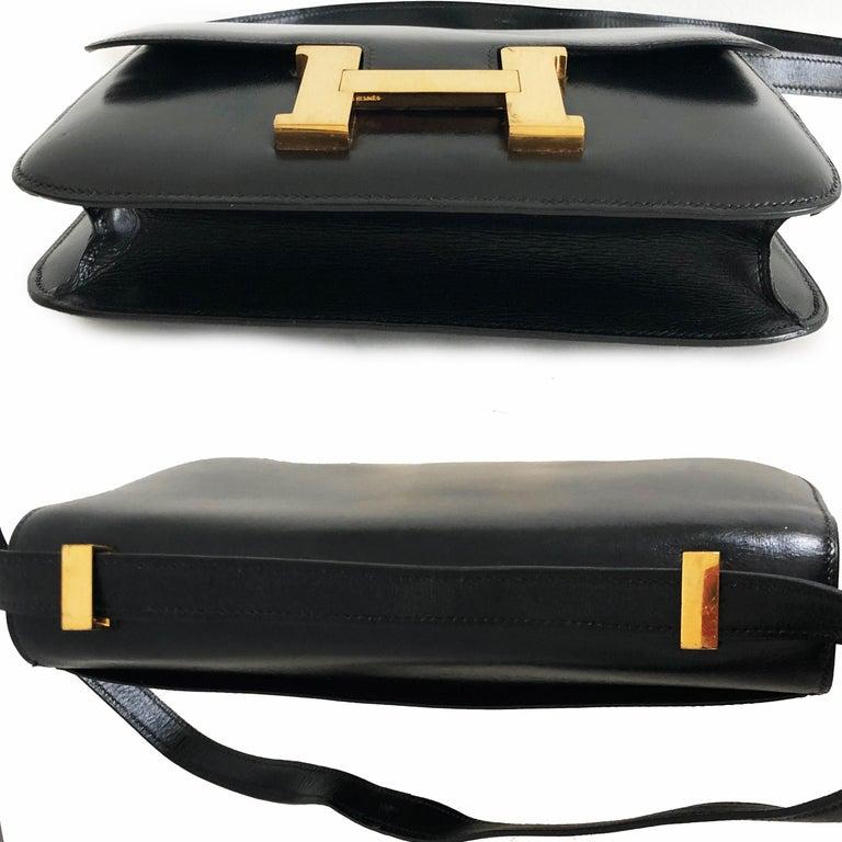 Hermes Constance Bag 23cm Black Box Leather Vintage 80s  For Sale 9