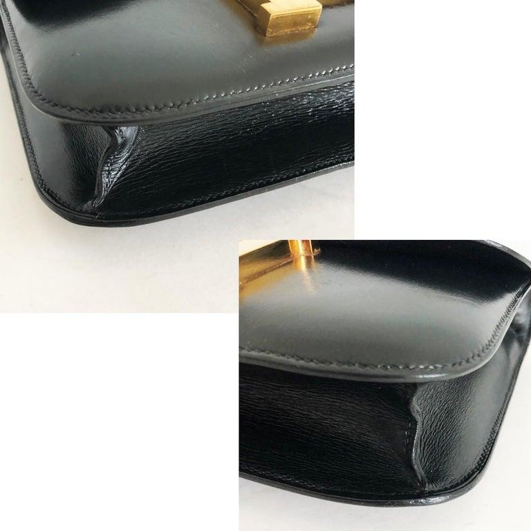 Hermes Constance Bag 23cm Black Box Leather Vintage 80s  For Sale 10