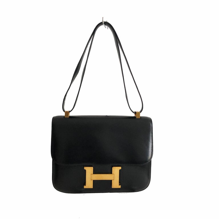 Hermes Constance Bag 23cm Black Box Leather Vintage 80s  In Good Condition For Sale In Port Saint Lucie, FL