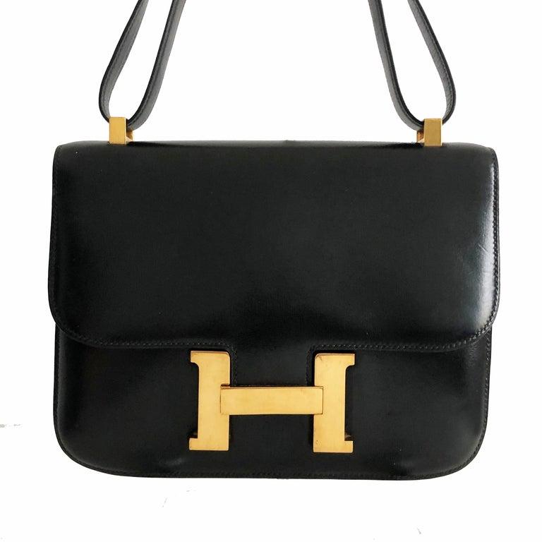 Hermes Constance Bag 23cm Black Box Leather Vintage 80s  For Sale 1