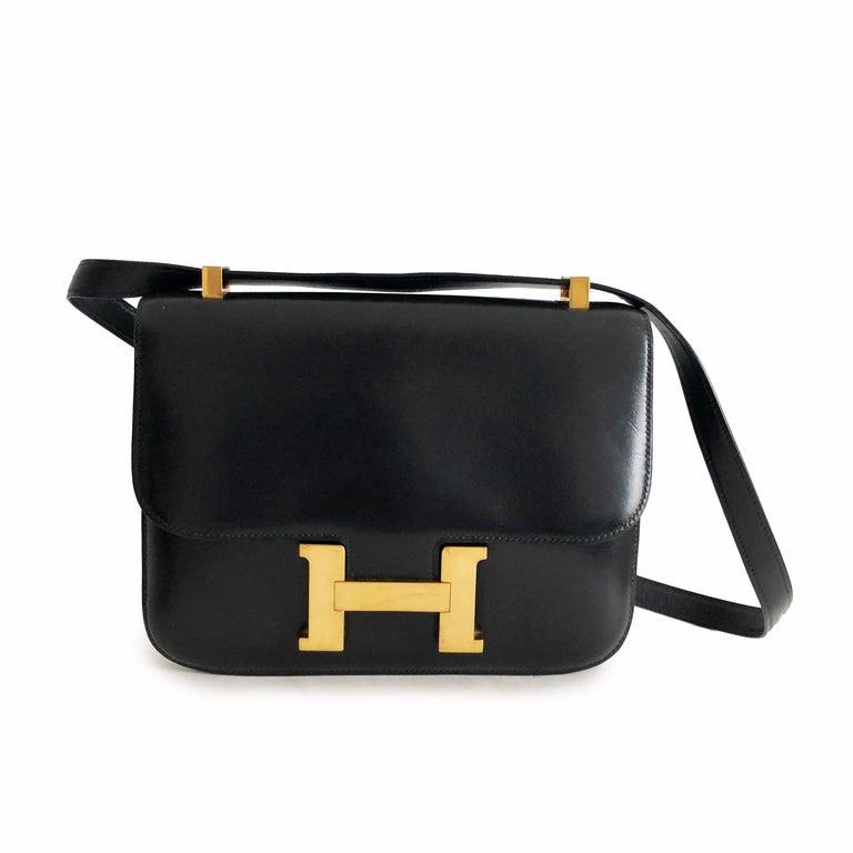 Hermes Constance Bag 23cm Black Box Leather Vintage 80s  For Sale 2