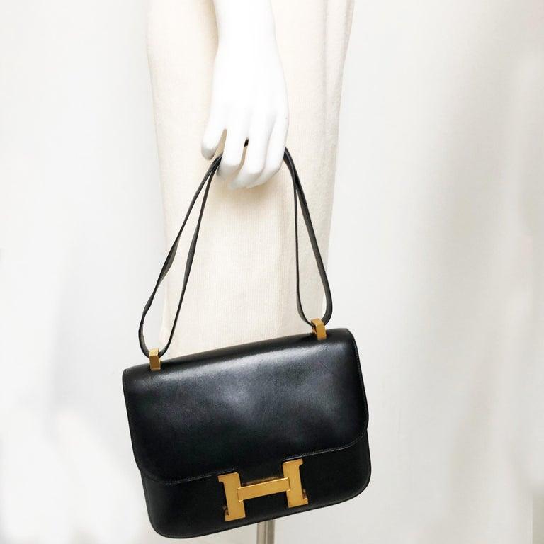 Hermes Constance Bag 23cm Black Box Leather Vintage 80s  For Sale 4