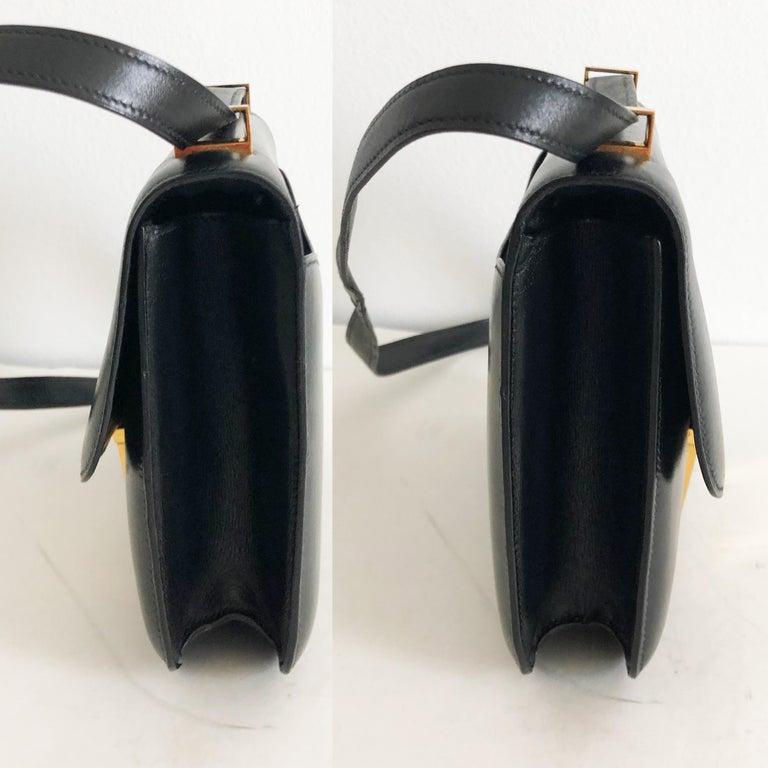 Hermes Constance Bag 23cm Black Box Leather Vintage 80s  For Sale 5