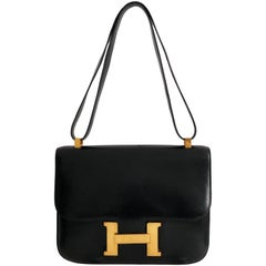 Hermes Constance Bag 23cm Black Box Leather Vintage 80s