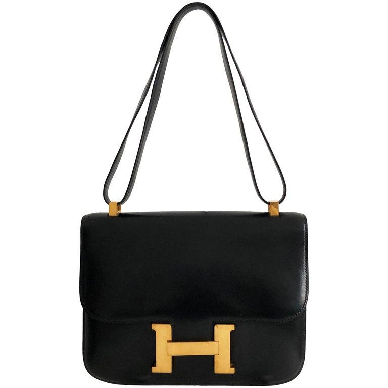 Hermes Constance Bag 23cm Black Box Leather Vintage 80s  For Sale