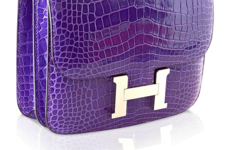 Hermes Constance Bag Rare 18 cm Ultra Violet Alligator Palladium 2die4 For Sale 4