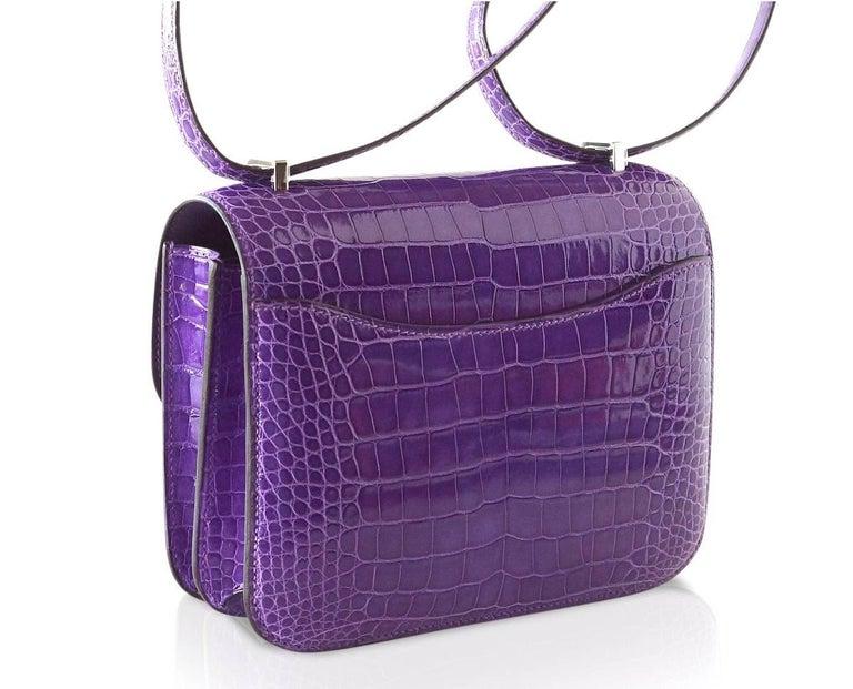 Hermes Constance Bag Rare 18 cm Ultra Violet Alligator Palladium 2die4 For Sale 3