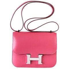 Hermes Constance Bag Rose Lipstick Pink Mini III  Veau Tadelakt