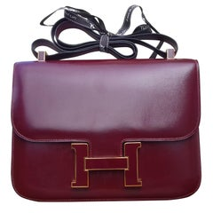 Hermès Constance Bag Rouge H Box Leather Enamelled Clasp 23 cm RARE