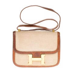 Hermes Constance bi-material shoulder bag in canvas and leather,  GHW
