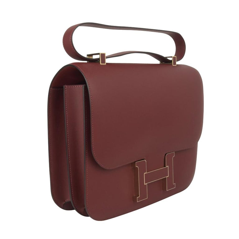 Brown Hermes Constance Cartable Bag Limited Edition Rouge H Sombrero For Sale