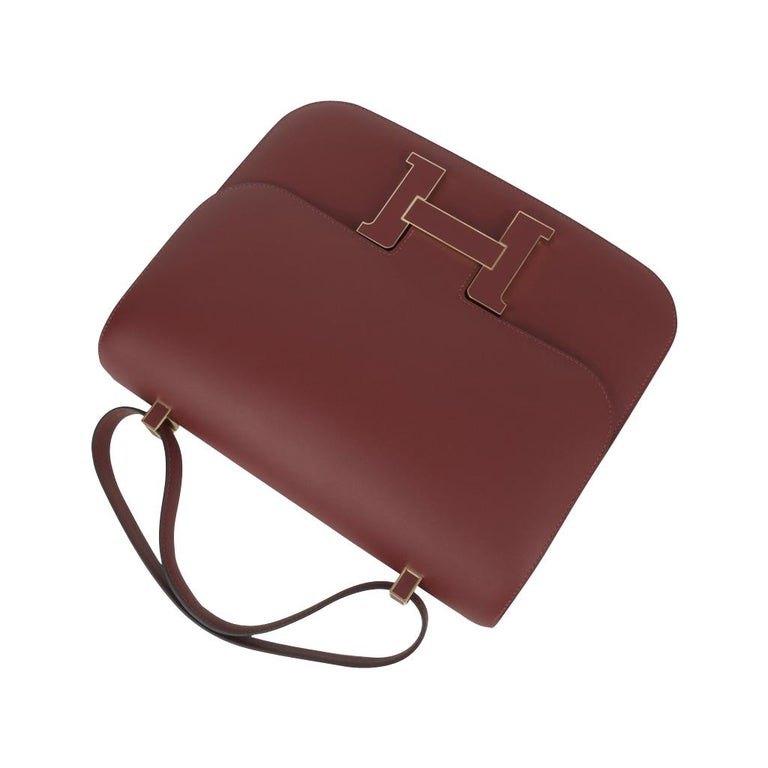 Hermes Constance Cartable Bag Limited Edition Rouge H Sombrero In New Condition For Sale In Miami, FL