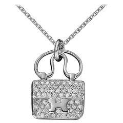 Hermès Constance Charm Diamond White Gold Pendant Necklace
