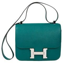 HERMES Constance Elan Bag in Malachite Green Epsom Leather