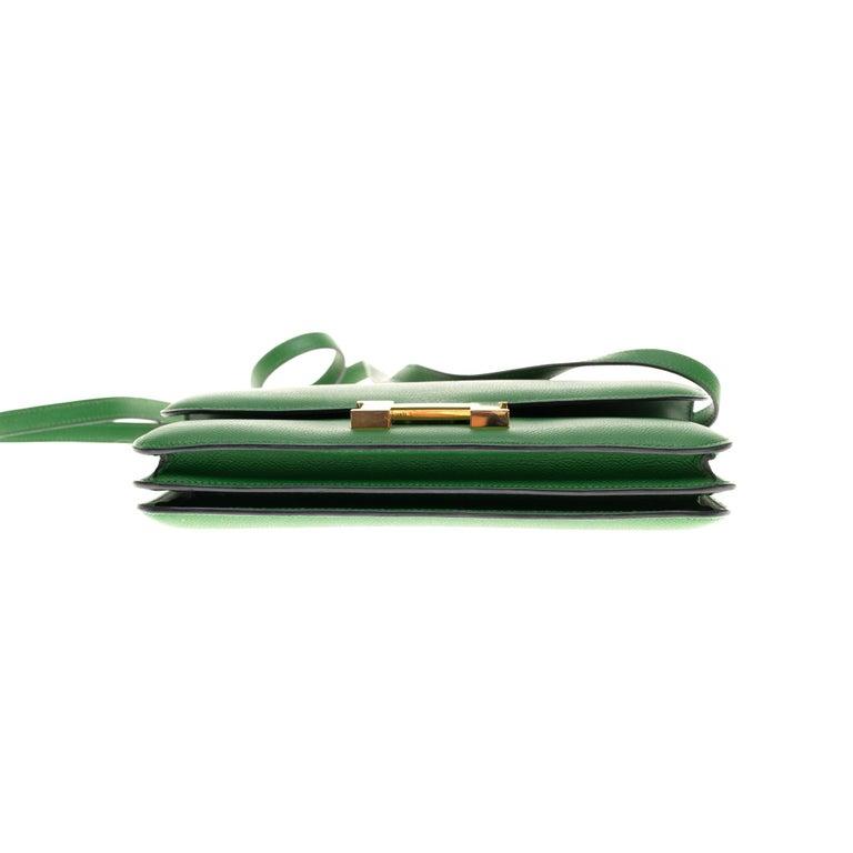 Hermès Constance Elan epsom green bengale handbag, gold hardware still sealed For Sale 7