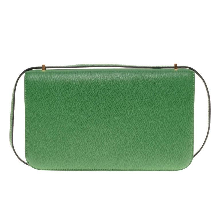 Hermès Constance Elan epsom green bengale handbag, gold hardware still sealed In Excellent Condition For Sale In Paris, Paris