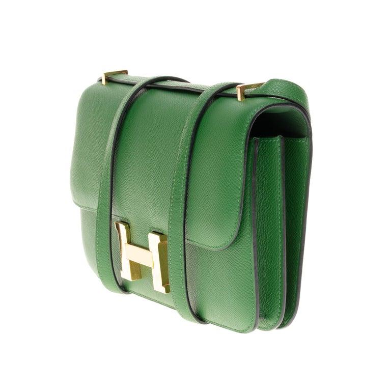 Women's Hermès Constance Elan epsom green bengale handbag, gold hardware still sealed For Sale