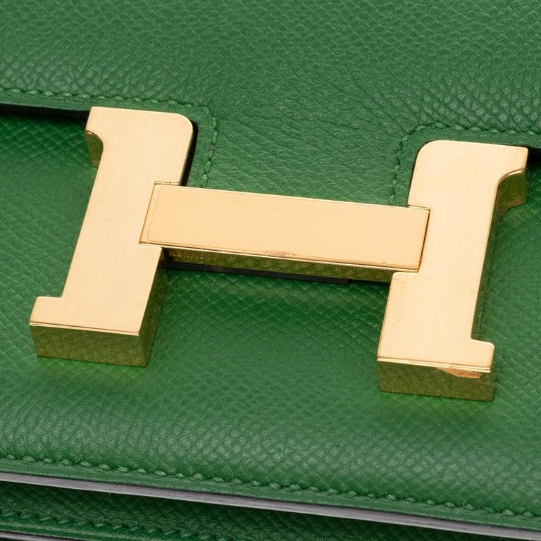 Hermès Constance Elan epsom green bengale handbag, gold hardware still sealed For Sale 4