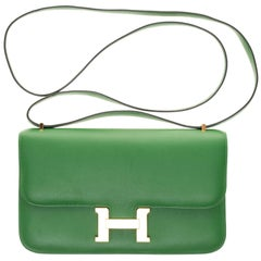 Hermès Constance Elan epsom green handbag, gold hardware, very good condition