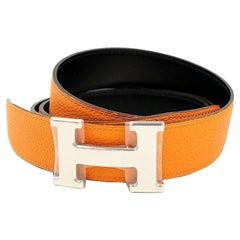 HERMES Constance H belt reversible Mens belt black x orange x silver