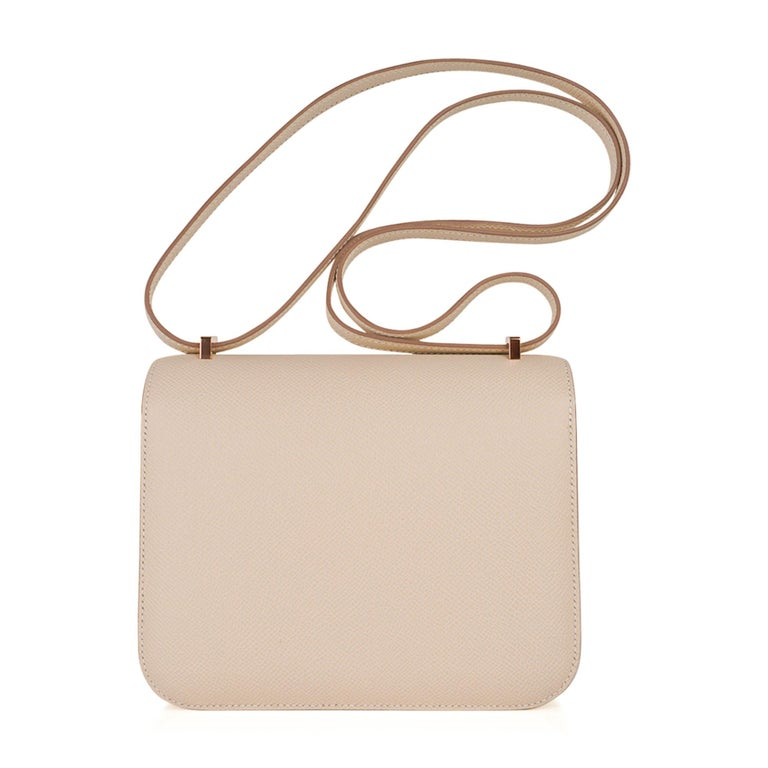 Hermes Constance HSS 18 Bag Craie / Gris Perle Rose Gold Hardware  6