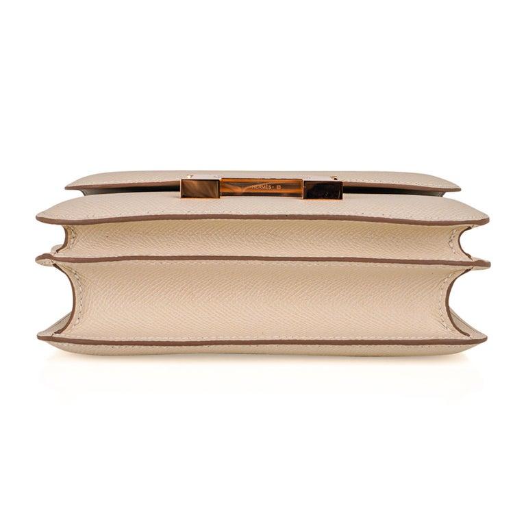 Hermes Constance HSS 18 Bag Craie / Gris Perle Rose Gold Hardware  7