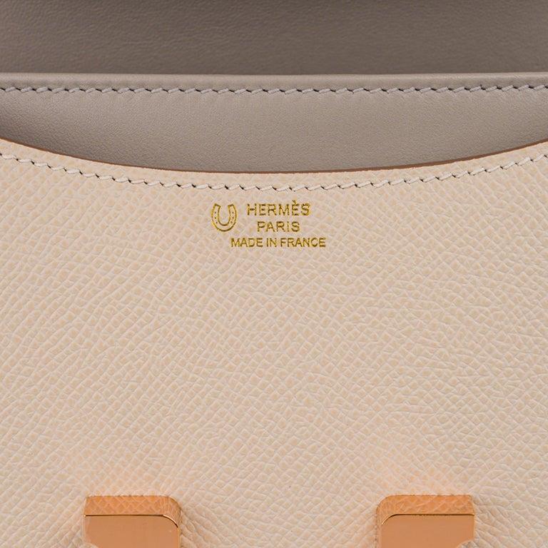 Women's Hermes Constance HSS 18 Bag Craie / Gris Perle Rose Gold Hardware