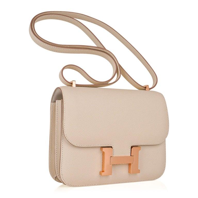 Hermes Constance HSS 18 Bag Craie / Gris Perle Rose Gold Hardware  1