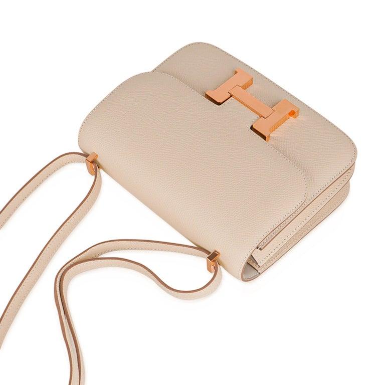 Hermes Constance HSS 18 Bag Craie / Gris Perle Rose Gold Hardware  2