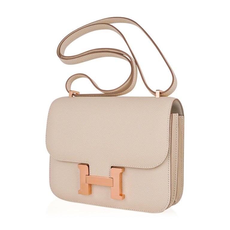 Hermes Constance HSS 18 Bag Craie / Gris Perle Rose Gold Hardware  3