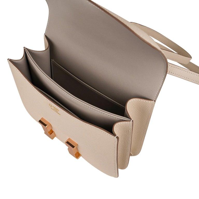 Hermes Constance HSS 18 Bag Craie / Gris Perle Rose Gold Hardware  5
