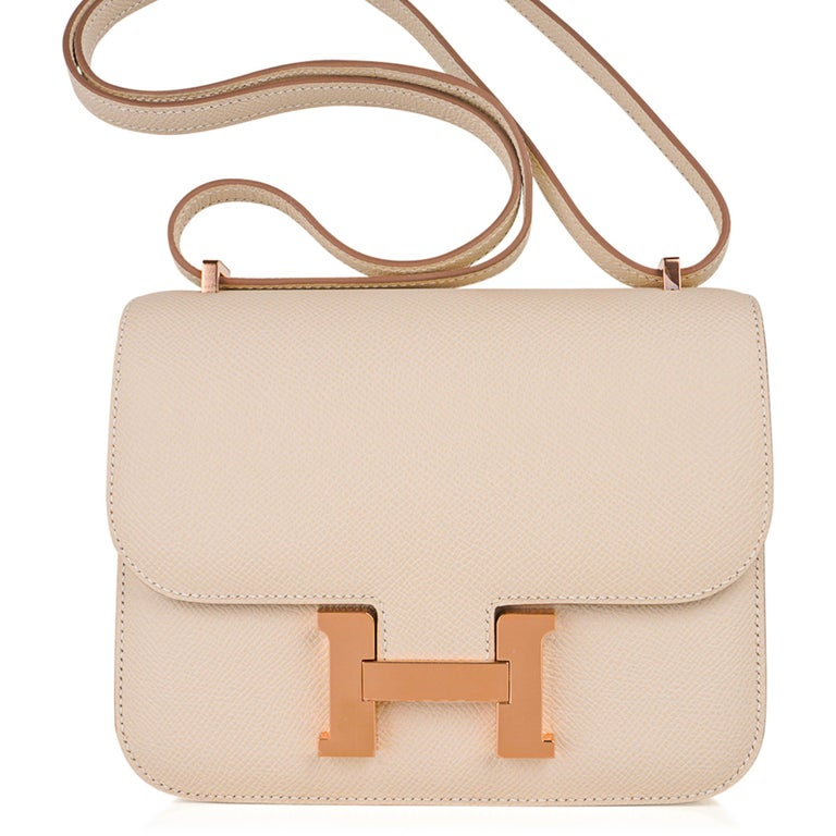 Hermes Constance HSS 18 Bag Craie / Gris Perle Rose Gold Hardware  In New Condition In Miami, FL