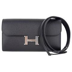 Hermes Constance Long To Go Black Epsom Palladium Hardware New w/ Box