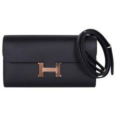 Hermes Constance Long To Go Wallet Black Rose Gold Hardware Epsom New w/ Box