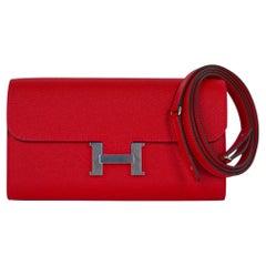 Hermes Constance Long To Go Wallet Rouge Casaque Palladium Epsom New w/ Box
