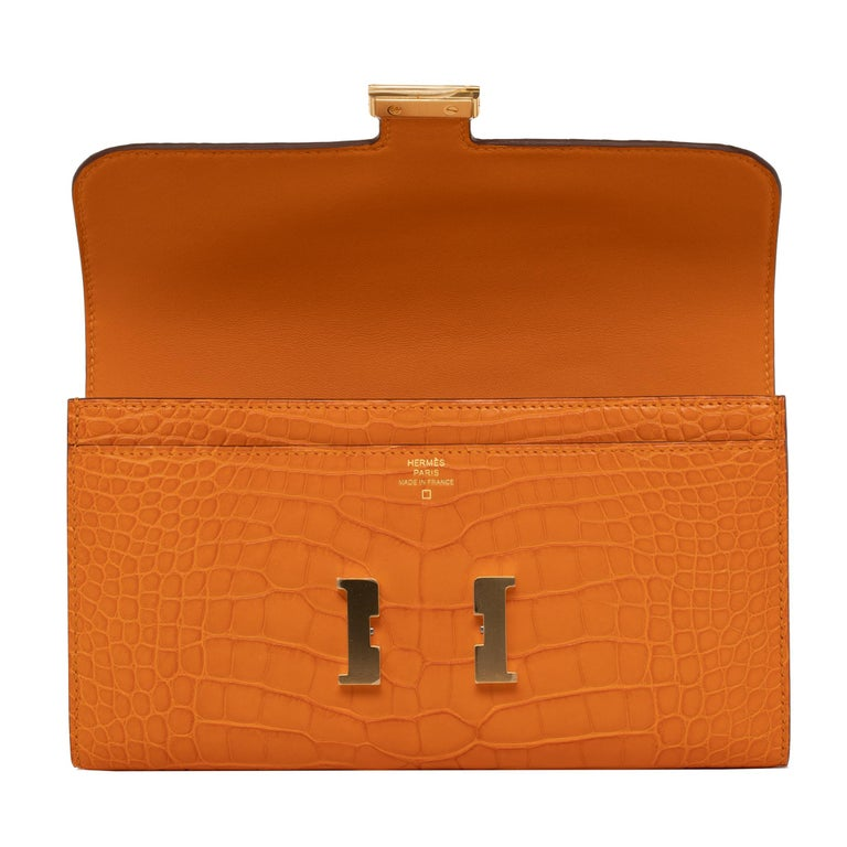 Hermès Constance Long Wallet Abricot Matte Alligator Gold Hardware For Sale 1