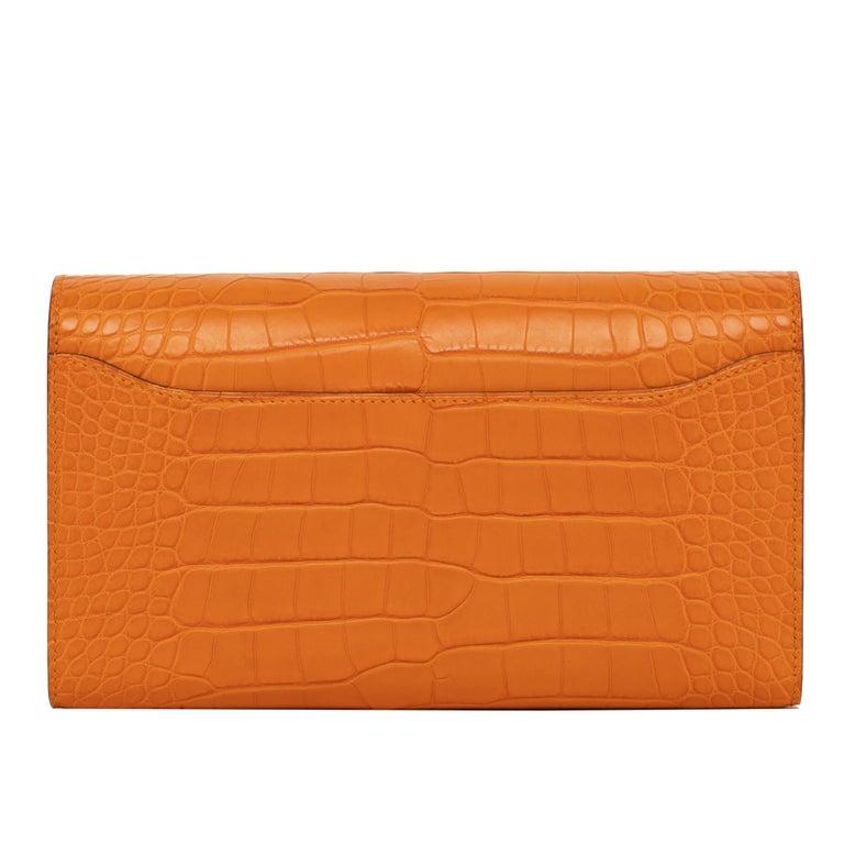 Hermès Constance Long Wallet Abricot Matte Alligator Gold Hardware For Sale 2