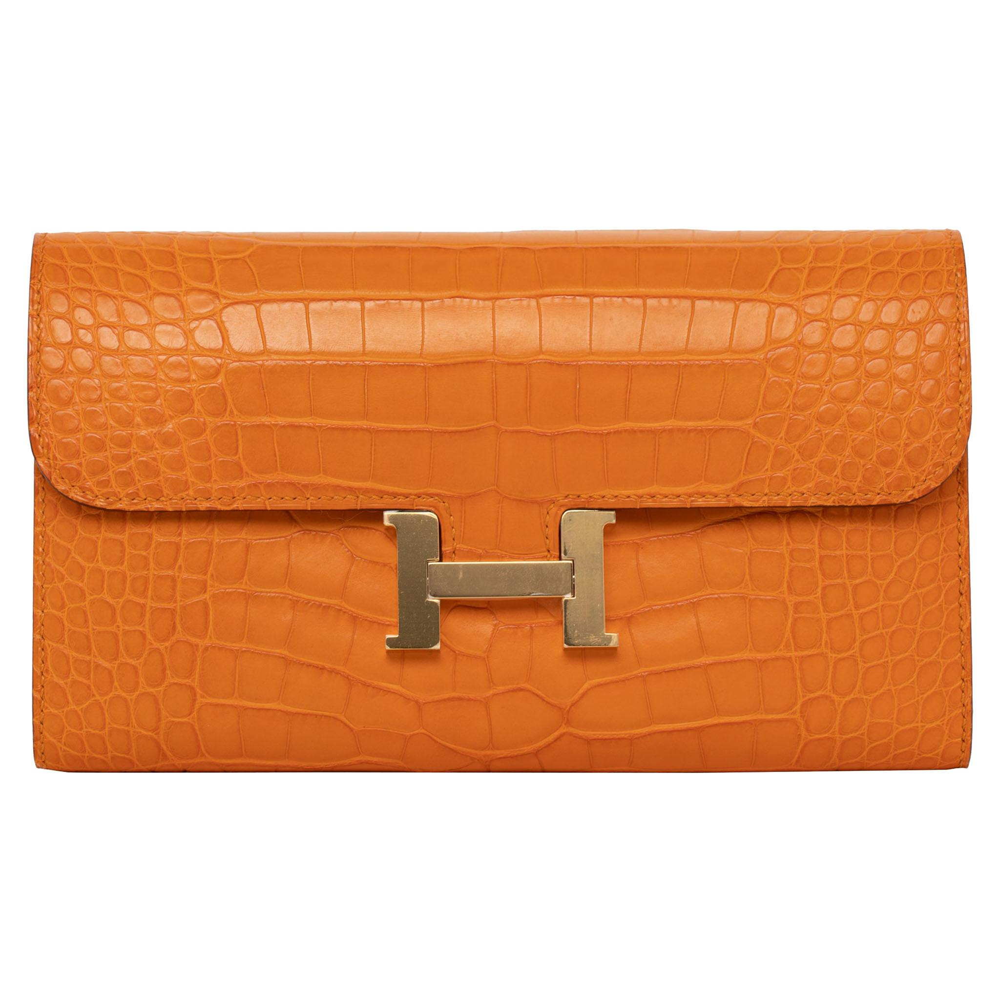 Hermès Constance Long Wallet Abricot Matte Alligator Gold Hardware