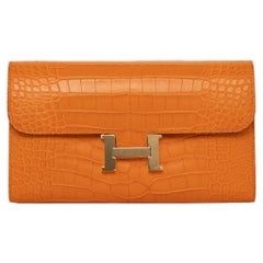 Hermès Constance Long Wallet Abricot Matte Alligator Gold Hardware